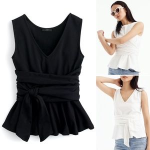 NWT J.CREW Black Wraparound Peplum Cotton Tank- M